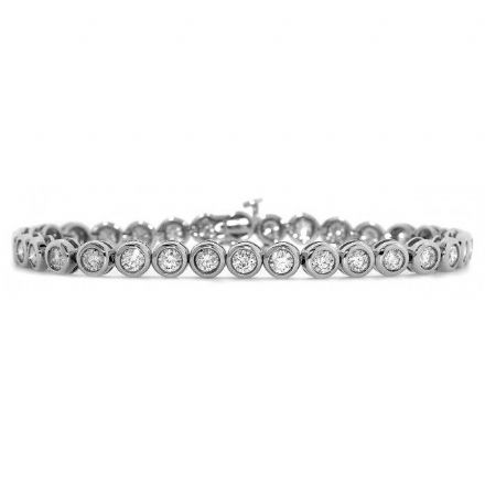 18K White Gold 3.00ct H/si Diamond Bracelet, DBR02-3HSW